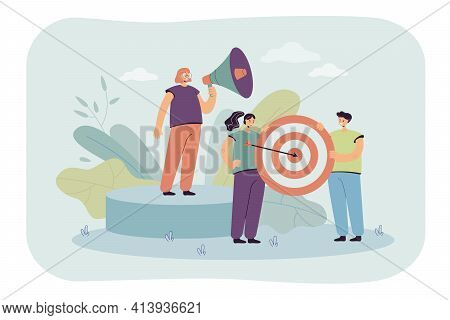 Business Team Goal Achievement Flat Vector Illustration. Team Working On Business And Marketing Stra