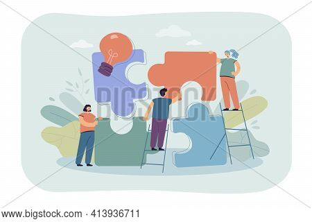 Team Of Tiny People Connecting Giant Puzzle Elements. Flat Vector Illustration. Symbol And Metaphor