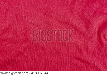 Crumpled Red Cloth Background. Crumpled Cotton Shirt. Abstract Background.