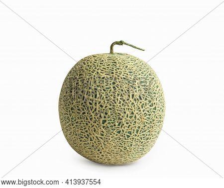 Cantaloupe Melon Isolated On White Background.,fruit Concept