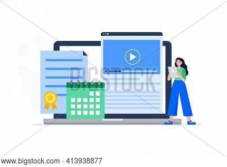 A Woman Starts An Online Course. Watching Video Lessons, Schedule A Calendar, Getting A Course Compl