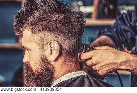 Hipster Client Getting Haircut. Hands Of Barber With Hair Clipper, Close Up. Haircut Concept. Hipste
