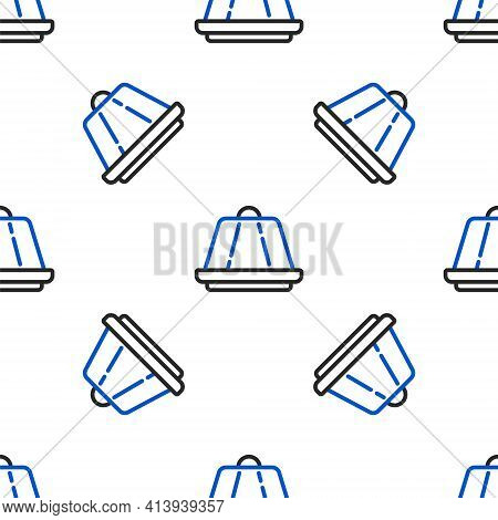 Line Pudding Custard With Caramel Glaze Icon Isolated Seamless Pattern On White Background. Colorful