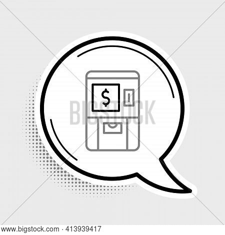 Line Atm - Automated Teller Machine And Money Icon Isolated On Grey Background. Colorful Outline Con