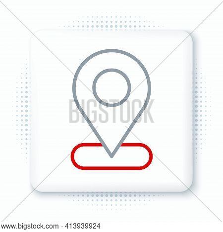 Line Map Pin Icon Isolated On White Background. Navigation, Pointer, Location, Map, Gps, Direction,