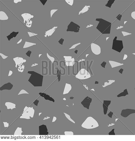 Terrazzo Seamless Pattern. Black And White Classic
