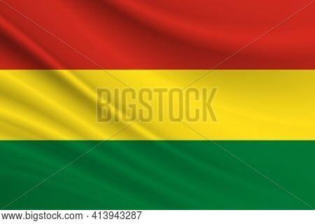 Flag Of Bolivia. Fabric Texture Of The Flag Of Bolivia.