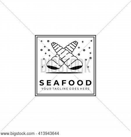 Seafood Logo Vector Illustration Design, Seashell Seafood Logo Line Art