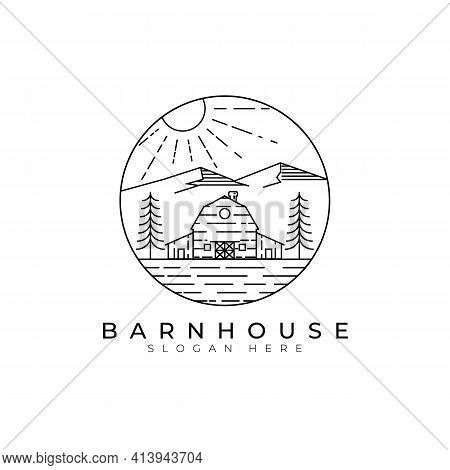 Barn House Logo Vector Illustration Template Design, Countryside Barn View
