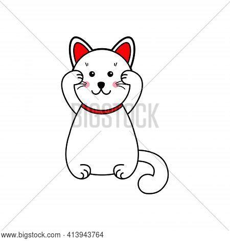 Neko The Cat Lucky Cat . Eps 10. Japanese Cat. Vector Illustration