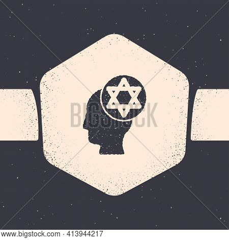 Grunge Orthodox Jewish Hat Icon Isolated On Grey Background. Jewish Men In The Traditional Clothing.