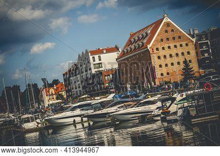 Gdansk, Poland - 20 August 2019: Modern Yachts Moored In Yacht Haven Marina Gdansk On New Motlawa Ri