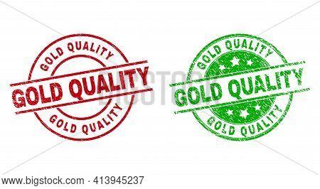 Round Gold Quality Seals. Flat Vector Scratched Stamp Watermarks With Gold Quality Caption Inside Ci