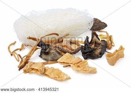 Isolated Food Dry Chinese.  Chinese Herbs And Flat Lay Composition. Variety Of Dried Mushroom, Dried