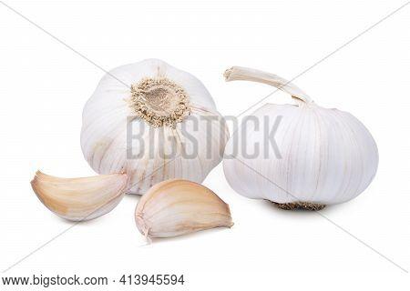 Isolated Garlic. Fresh Peeled Garlic Cloves, Bulb With Garlic Slices Isolated On White Background. C