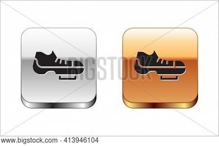 Black Triathlon Cycling Shoes Icon Isolated On White Background. Sport Shoes, Bicycle Shoes. Silver-