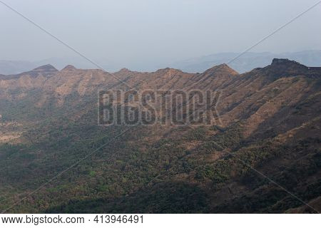 Suvela Machi A Long Strip Of Fortified Walls And Hill View Of Rajgad Fort, Pune, Maharashtra, India.