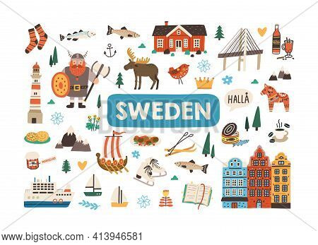 Set Of Traditional Symbols Of Sweden And Stockholm Isolated On White Background. Bundle Of Swedish A