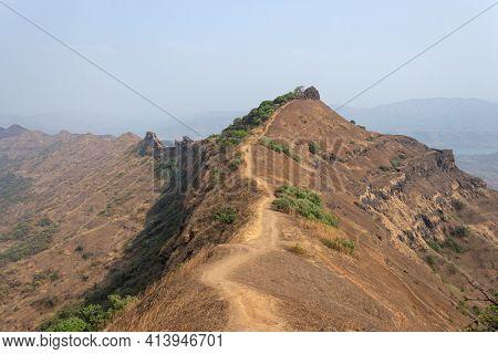 Way Of Chilkhati Buruj From Top Fort, Rajgad Fort, Pune, Maharashtra, India.