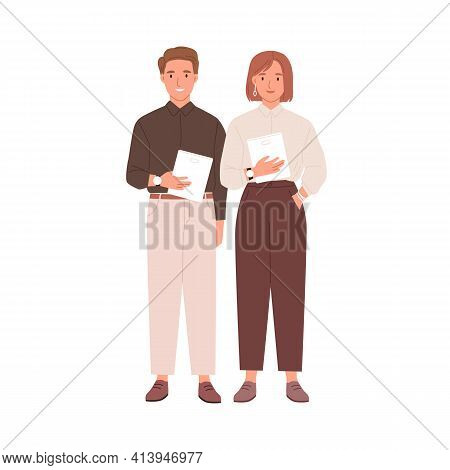 Couple Of Colleagues Standing Together With Tablets. Portrait Of Young Businessman And Businesswoman