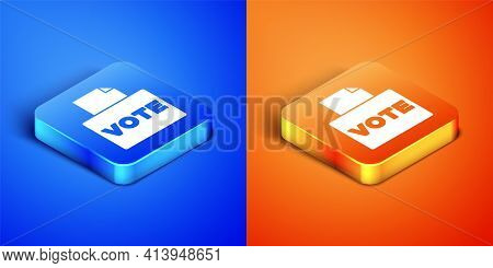 Isometric Vote Box Or Ballot Box With Envelope Icon Isolated On Blue And Orange Background. Square B
