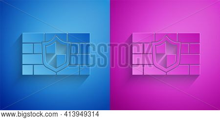 Paper Cut Shield With Cyber Security Brick Wall Icon Isolated On Blue And Purple Background. Data Pr