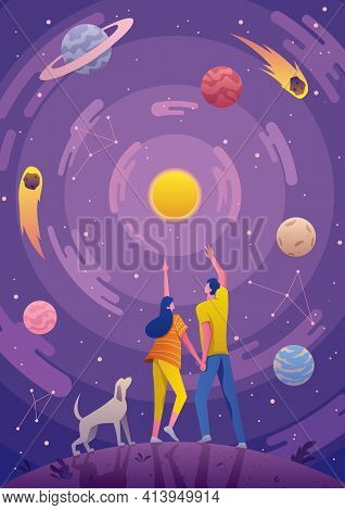 Conceptual Illustration For Astronomy Or Astrology, Depicting Young Couple And Their Dog, Looking At