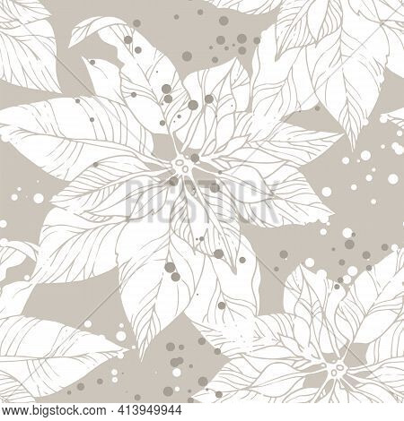 Flowers Pattern, Seamless Vector Background With Poinsettia Flowers, Textile Ornament