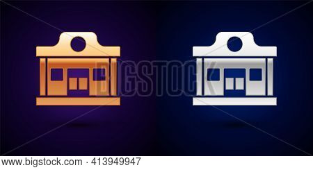 Gold And Silver Wild West Saloon Icon Isolated On Black Background. Old West Building. Vector