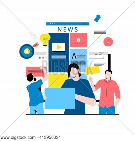 Online News Content, Headlines, News Update, News Website, Electronic Newspaper Flat Vector Illustra
