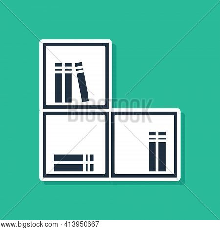 Blue Shelf With Books Icon Isolated On Green Background. Shelves Sign. Vector