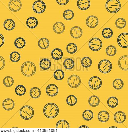 Blue Line Cutting Board Icon Isolated Seamless Pattern On Yellow Background. Chopping Board Symbol.