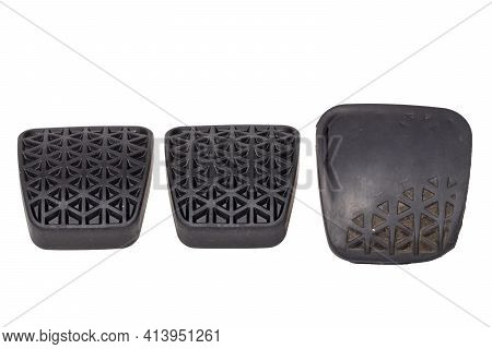 Rubber Spare Parts For Cars. Comparison Of Two New Rubber Cover For The Clutch Pedal On Car With The