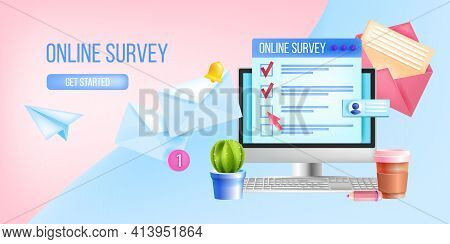 Online Survey, Internet Questionnaire, Poll Vector Web Page Template, Illustration, Computer Screen.