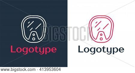 Logotype Line Diving Mask Icon Isolated On White Background. Extreme Sport. Diving Underwater Equipm