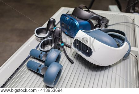 Virtual Reality Helmet. Vr Headset. 3d Rendering With Virtual Reality Glasses.