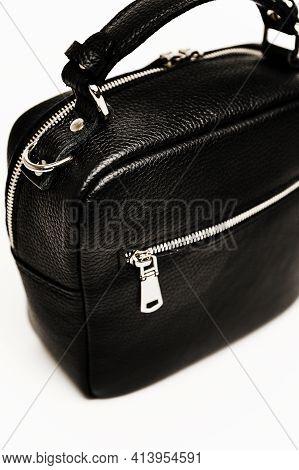 Beautiful Urban Womens Handbag. Black Handbag With Texture On The Skin. Expensive Womens Handbag On