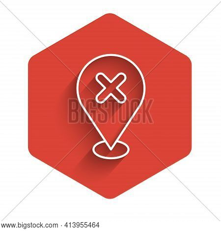 White Line Map Pin With Cross Mark Icon Isolated With Long Shadow. Navigation, Pointer, Location, Ma