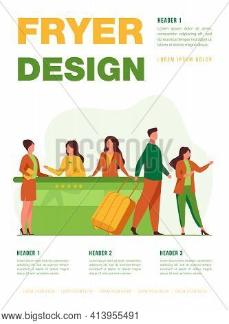 Friendly Receptionists From Hotel Registration Desk Help Client Vector Illustration. People Waiting