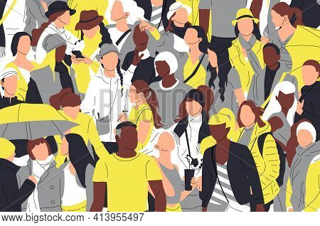 Crowd Of Different Multinational Multicultural People. Gray And Yellow.