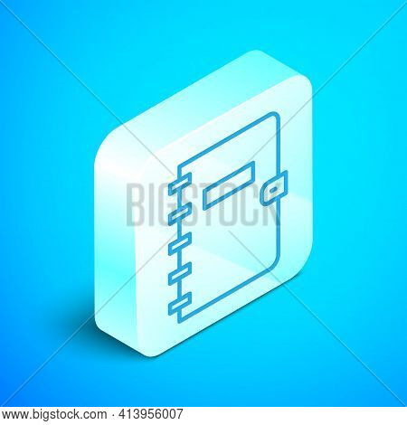 Isometric Line Notebook Icon Isolated On Blue Background. Spiral Notepad Icon. School Notebook. Writ