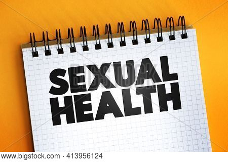 Sexual Health Text Quote On Notepad, Concept Background