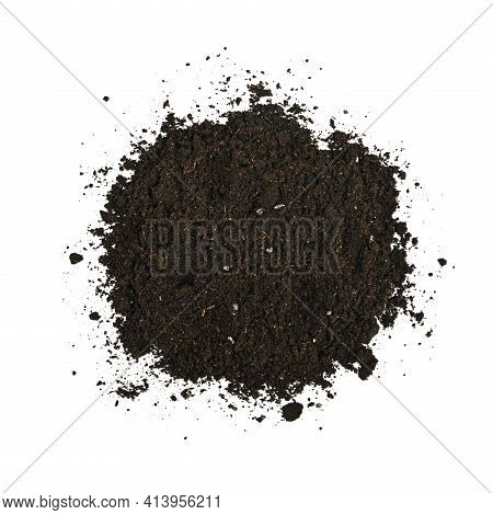 Close Up One Heap Of Black Humus Soil Isolated Over White Background, Elevated Top View, Directly Ab
