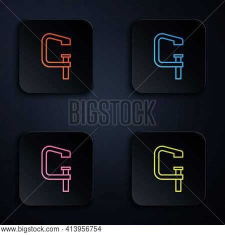 Color Neon Line Clamp And Screw Tool Icon Isolated On Black Background. Locksmith Tool. Set Icons In