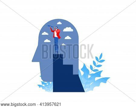 Business Vision With Looking For Opportunities In Spyglass Standing On Top Peak Of Head Human Busine