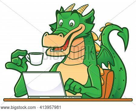 Cartoon Green Dragon Working On His Laptop While Drinking Tea Or Coffee.