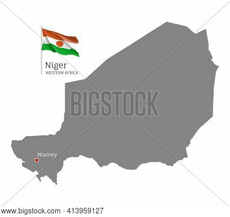 Silhouette Of Niger Country Map. Gray Editable Map