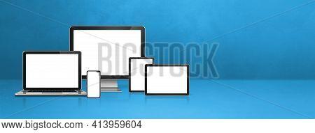 Computer, Laptop, Mobile Phone And Digital Tablet Pc - Blue Office Desk Banner. 3d Illustration