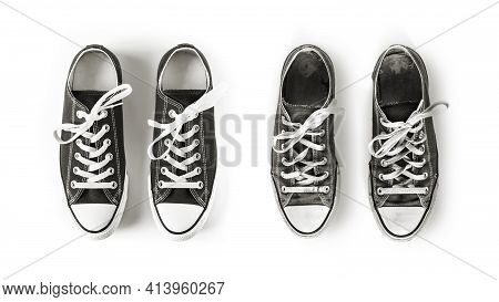 New And Old Black Generic Sneakers Isolated On White Background