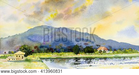 Watercolor Landscape Painting Colorful Of Family Mountain With Farm Cornfield In Panorama View And E
